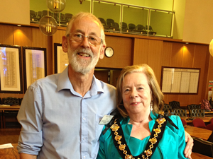 Pete Wearn with mayoress Val Custance